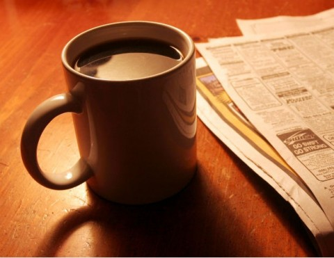 Coffee and Newspaper 480x371 image