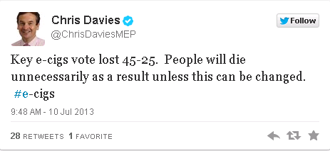 Chris Davies ECIG tweet.
